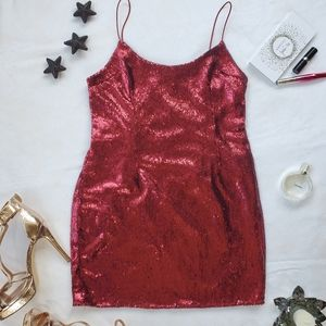 PRETTYLITTLETHING Red Sequins Sexy Mini Dress,s:8